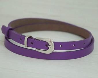 Leather Belt, Purple Leather Belt, Purple Womens Belt, Skinny Belt, Thin Belt, Dress Belt