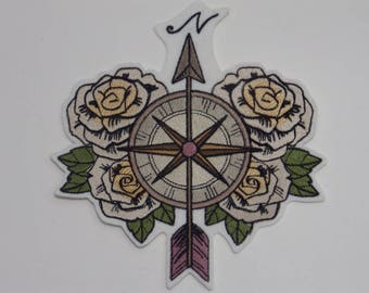 SteamPunk Iron-on Patch. Embroidered SteamPunk Patch. Sew-On Patch. Compass and Roses Patch.