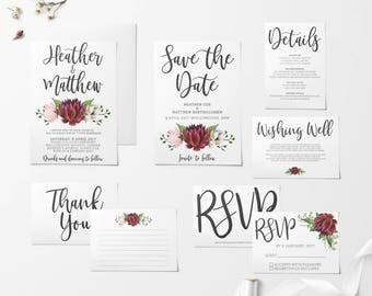 Printable Wedding Invitation Set, Floral Wedding Invitation Set, Wedding Invitations, Save The Date, RSVP, Wishing Well, Thank You