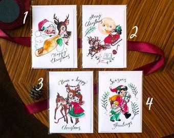 Retro Christmas Card - Single Card with Envelope