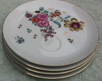 Royal Crown Japan China (4) dessert plates with cup indent, English Garden 3993