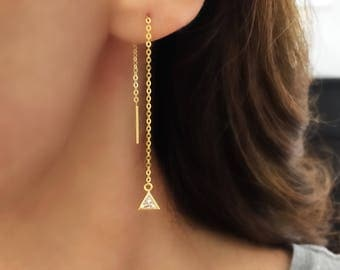 Triangle CZ Earrings. Sterling Silver Threader Earrings. Long Gold Chain Earrings. Dainty Drop Earrings