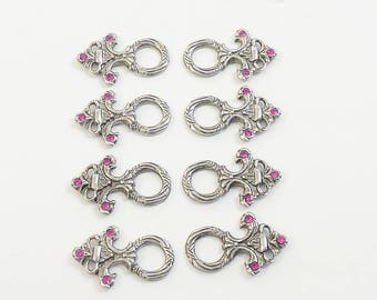 Corsage Hook costume button rhinestone fuchsia pink 8 set