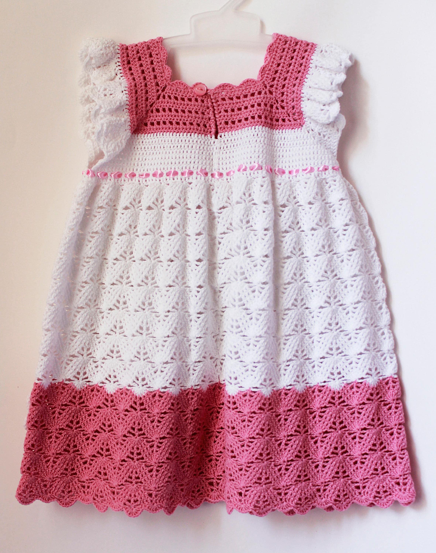 crochet baby dress white pink knit dress infant girl summer dress