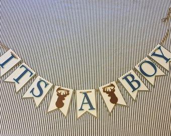 It's a boy Banner - Gender Reveal - Baby Shower Banner - Boy Banner - Baby Banner - Hunter Theme