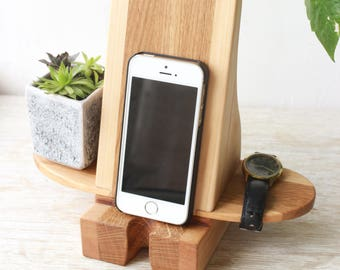 Wood Phone Stand, Phone Holder, Smartphone Holder, Cell Phone Holder, Birthday Gift, Gift for Him, Mobile Phone Charger, Wooden Phone Dock