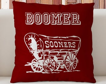 Oklahoma Sooners Pillow, OU Pillow, Boomer Sooner Pillow, Oklahoma University Pillow,Dorm Decor, Gift for OU Students, Varsity Pillow
