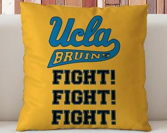 UCLA Bruins Pillow, Bruins Fight Fight Fight  Pillow, UCLA Dorm Decor, Gift for UCLA Students, Bruins Dorm Decor,