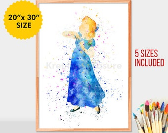 Wendy darling,  Wendy poster, wendy watercolor, PeterPan and Wendy, peterpan wendy, peterpan poster, peterpan decor,