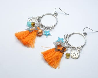 Drop earrings blue and orange