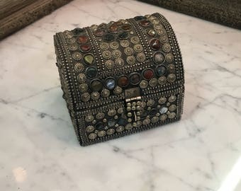 Silvertone and Gemstone Studded Treasure Chest Jewelry Box