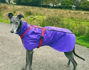 Greyhound/Whippet PURPLE Waterproof Raincoat w Plain / Patterned Fleece lining or Brushed Cotton lining Dog Coat Bespoke Made to Order