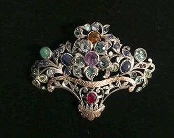 Rose Gold & Sterling Victorian Brooch
