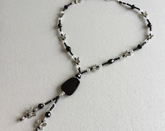 Black and crystal  butterfly beaded necklace