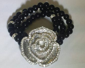 Rhinestone Rose with Black Beads