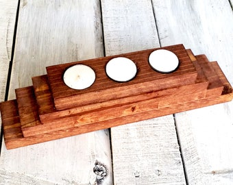 Wood Candle Holder - Wood Tealight Holder - Wood Tealight Candle Holder - Tealight Candle Holder - Rustic Candle Holder - Candle Decor -