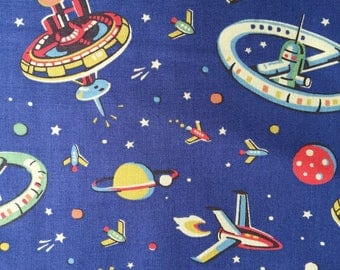 """Cath Kidston Half Yard Cotton Fabric 53""""(135cm) Wide_Outer Space PF025"""