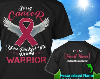 Personalized Multiple Myeloma Cancer Awareness Tshirt Burgundy Ribbon Warrior Support Custom T-shirt Apparel Unisex Women Youth Kids Tee