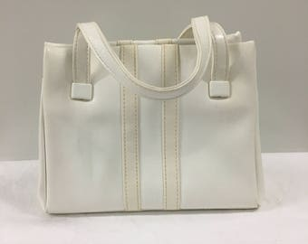 Sporty White Vinyl Purse // pleather purse // White purse // Striped purse