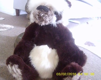 Kobe (chocolate brown and white 'CALORIE FREE' soft sculpture panda), made with recycled fur, bleached possum fur and mohair
