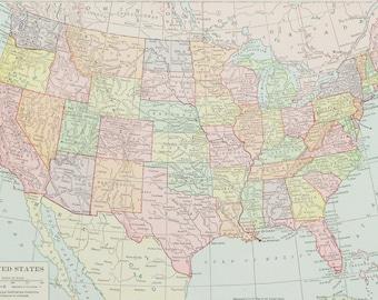 1915 United States Map Antique Map Vintage Us Map Unique Gift Idea