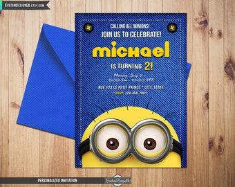 Minion Birthday Invitation, Despicable Me Invitation, Minion Card Printable, Minions Birthday Party, Minions Printable