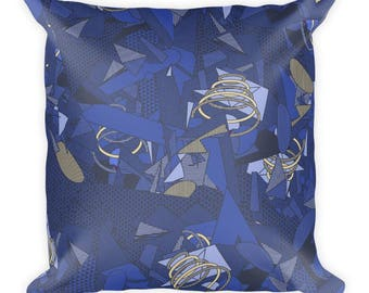 Square Pillow — Blue Triangles