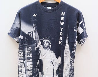 Vintage New York Broadway Full Print Black Tee T Shirt Size M