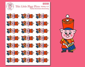 Twelve Drummers Drumming - Marching Band Planner Stickers - Twelve Days of Christmas - Drum Stickers - Marching Band - Drums- [Holiday 1-27]
