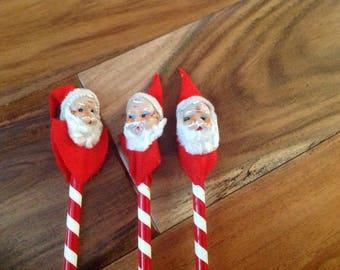 Vintage Santa Head Striped Pencils