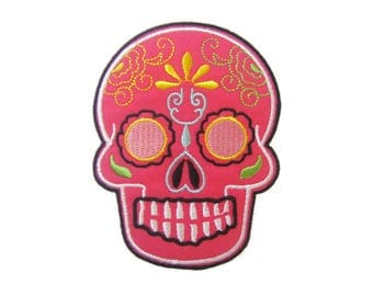 Sugar Skull Patches Applique Embroidered Iron on Patch