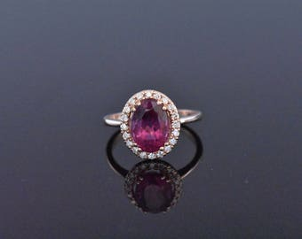14K Rose Gold Tourmaline and Diamond Ring