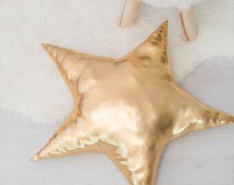 """Gold star pillow,17""""pillow star,cushion,decorative pillow,wedding pillow,kids room decor,star pillow"""