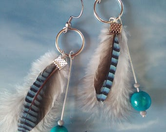 """With feather"" earrings"