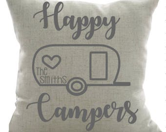 Happy Campers Personalized Pillow- Camping Pillow, Camper Decor, Custom Pillow, Personalized Pillow, Home, Retirement