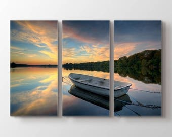 Large Wall Art Boat on Lake and Forest Beside at Canvas Print
