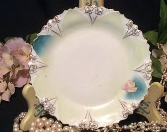 Green and Blue Dessert/Tea/Bread Plate with Gold Trim and a single Pink Rose