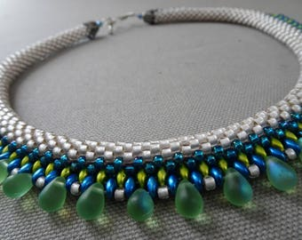 Summer Sky- Bead Crochet Necklace
