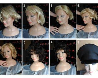 4 vintage wigs for dummies + 2 wigs e 1 hat
