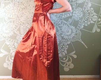 Vintage Copper Satin Gown with Low Back