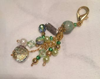 Purse charm or key chain in tones of gold and green