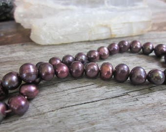 Dark purple pearls // pale pink freshwater pearl strand // June birthstone