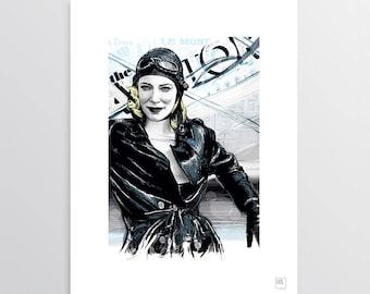 Cate, the aviator - Digital Illustration, Cate Blanchett tribute, illustration for digital printing, gift idea, decor home, decor office