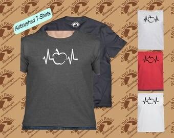 Apple Heartbeat Teacher Airbrushed T Shirt Free Shipping
