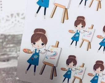 Artist Sticker | Painter Sticker | Planner Girl Sticker | 0040
