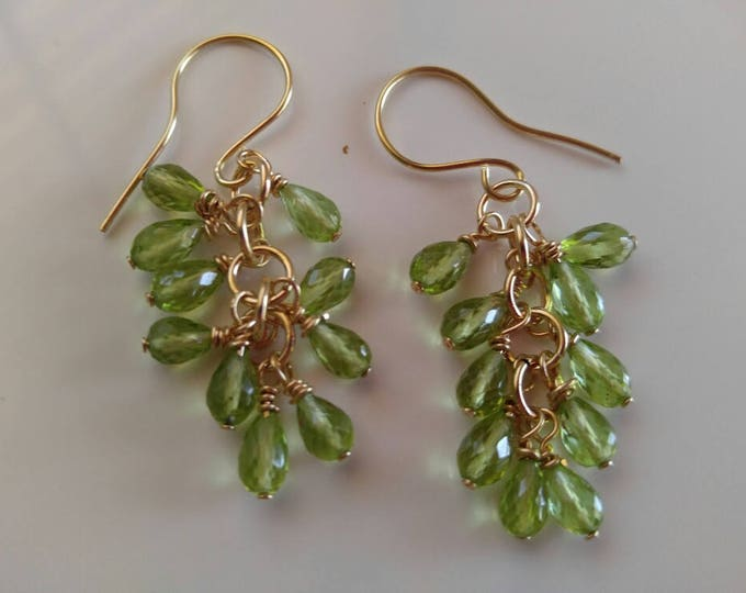 14k green Peridot earrings. Green peridot chandelier earrings, green dangle earrings in solid gold