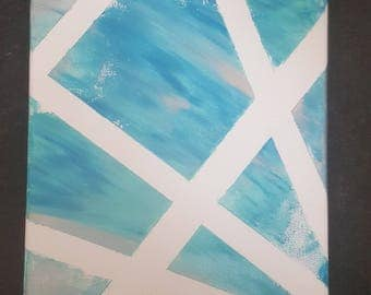 Striped Blue Acrylic 8×10 Painting - Canvas