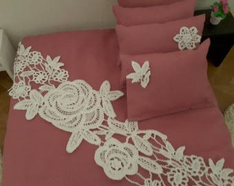 1/6 scale barbie doll size bedding set