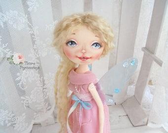 Fairy Doll, Art doll, fabric doll, Soft doll, rag doll, textile doll, interior doll, doll, cloth doll, home decor, Fairy, Rose