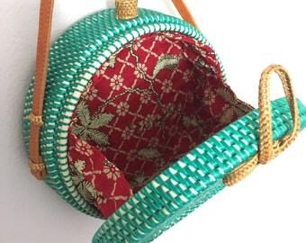 Round Straw bag, Straw bag, Woven bag, Basket bag, White bag, White Crossbody, Round straw purse, Boho bag, Gypsy bag, Round Straw Crossbody